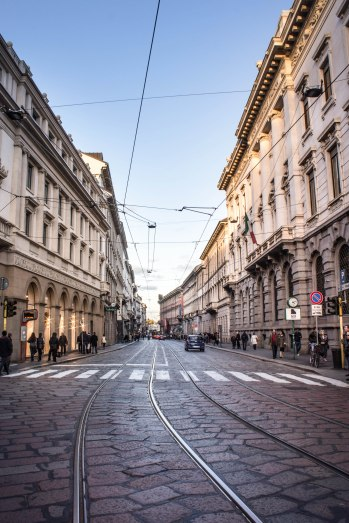 Milan city center, end of a warm afternoon, early spring