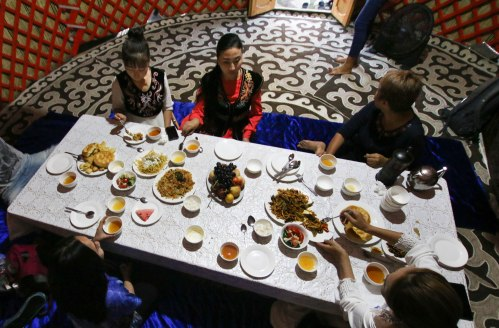 Welcome Kyrgyz dinner in a yurt
