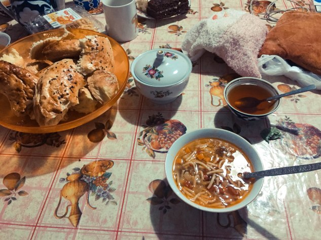 Lagman and local bread at Shahruh's